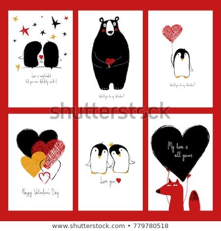 Casal amor engraçado dia dos namorados cartão feliz Foto stock © balasoiu