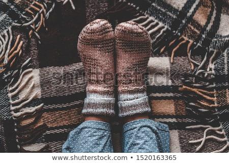 femenino · pies · de · punto · calcetines · primer · plano · vista - foto stock © dolgachov