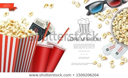 popcorn · 3d-bril · bioscoop · film · ontwerp · frame - stockfoto © robuart