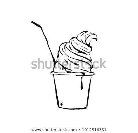 Color Ice Cream In Waffle Cone With Caramel Ink Vector Stock photo © pikepicture