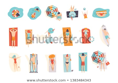 Man and Woman in Swimsuits Playing Inflatable Ball Stock photo © robuart