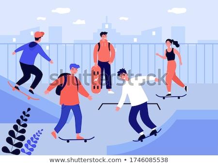 Tiener karakter schaatsen zomer sport activiteit Stockfoto © robuart