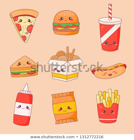 hamburger and noodles set vector illustration stok fotoğraf © robuart