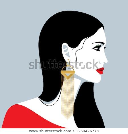 女性 · ダイヤモンド · エメラルド · イヤリング · 美 · 宝石 - ストックフォト © serdechny