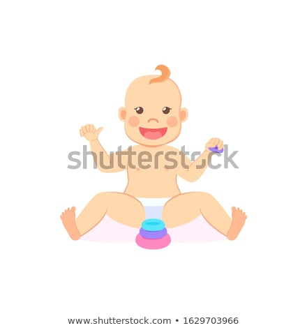 Baby Milestones, Eight Month Child Playing Pyramid Stock photo © robuart