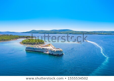 Saint Nikola fortress and Sibenik bay entrance aerial view Stock photo © xbrchx