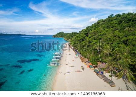 gyönyörű · fehér · homok · tengerpart · égbolt · víz · tájkép - stock fotó © galitskaya
