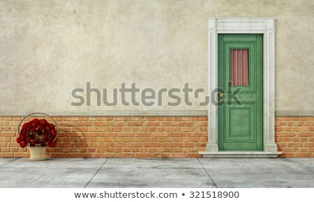 Green wood window stucco wall Stock photo © bobkeenan