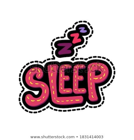 Zzz lettering stitched frame illustration Stock photo © barsrsind