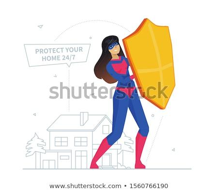 propriedade · seguro · ícones · casa · mãos · isolado - foto stock © decorwithme