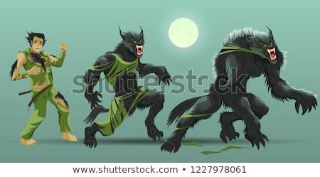Farkasember fordul férfi farkas telihold illusztráció Stock fotó © jossdiim
