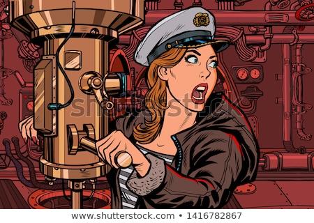 Podwodny kobieta bitwa alarm pop art retro Zdjęcia stock © studiostoks