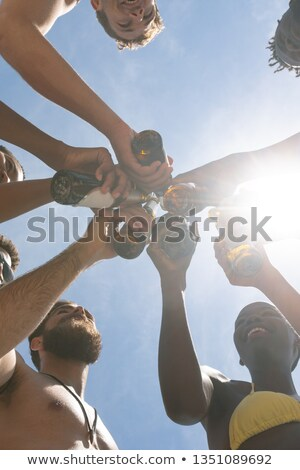 Upward view of happy group of multi-ethnic friends toasting with beer bottle at beach   Stock photo © wavebreak_media