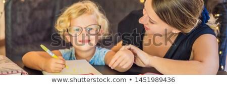 Enseignants tuteur table bannière longtemps format Photo stock © galitskaya