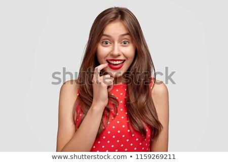 Lövés vonzó nő mosoly fogakkal smink fehér garbó Stock fotó © vkstudio