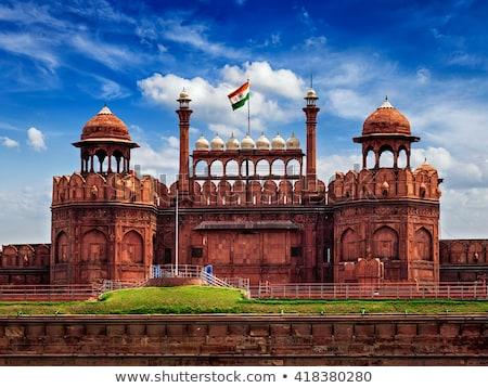 Rood fort Delhi Indië vintage retro Stockfoto © dmitry_rukhlenko