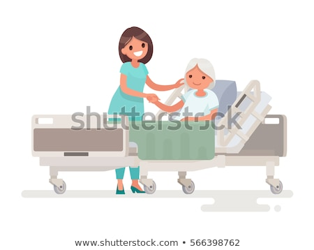 Hospitalization of the patient. A nurse medicine taking care of a sick woman lying in a medical bed Stock photo © robuart