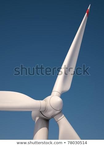 Szél elektromos erőmű szélturbina kék ég égbolt tavasz Stock fotó © HASLOO