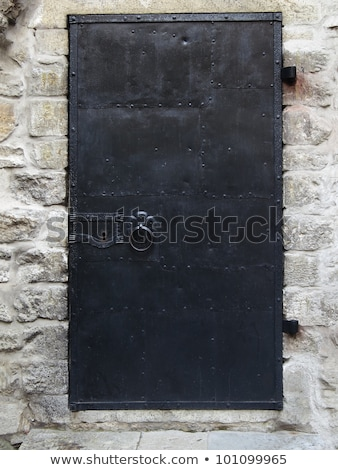 gray old metal door texture with iron handle and brick wall arou stock photo © inxti
