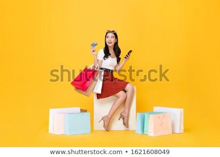 Asian klant opgewonden halfbloed vrouwelijke Stockfoto © szefei