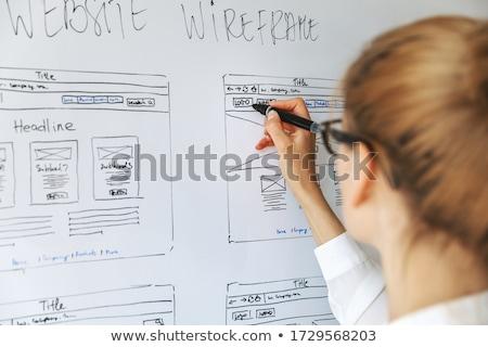 ウェブサイト · マーケティング · 黒板 · 手 · 図面 · 白 - ストックフォト © kbuntu