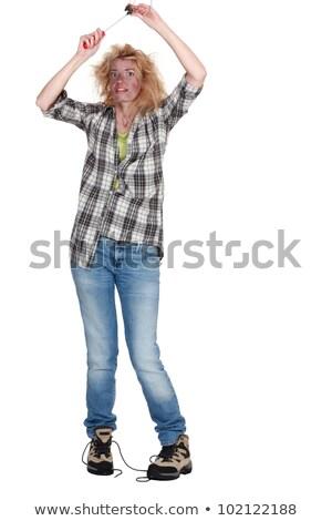 Izlemek dışarı şok kadın kız teknoloji Stok fotoğraf © photography33