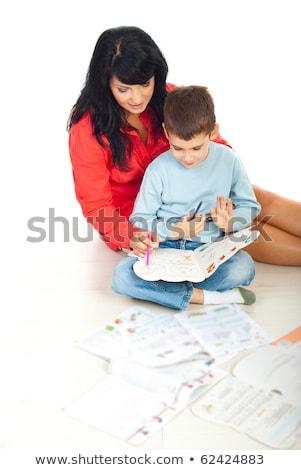 szczęśliwy · matka · pomoc · córka · praca · domowa · domu - zdjęcia stock © photography33