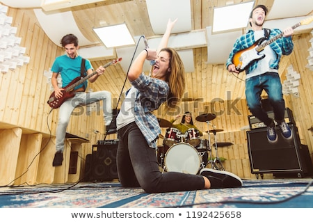 Banda música paisaje micrófono estudiantes Foto stock © photography33