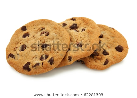 Trio Of Chocolate Chip Cookies Isolated On White Background Stock photo © shutswis