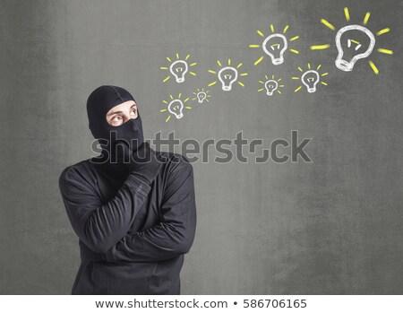 zavart · betörő · tolvaj · letartóztatva · grunge · beton - stock fotó © stevanovicigor