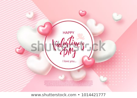 valentine s day card with pearl hearts vector illustration stock photo © carodi