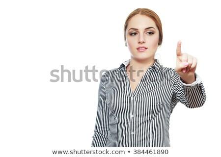 mulher · de · negócios · indicação · dedo · virtual · botão · mundo - foto stock © HASLOO