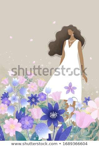 arte · foto · dama · elegante · vestido · nubes - foto stock © anna_om