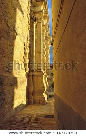 Keskeny utca kicsi óváros Spanyolország égbolt Stock fotó © Pilgrimego