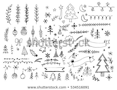 Stock photo: Christmas hand drawn card for xmas design, with balls, birds and
