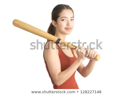 Stock photo: Pretty lady with a baseball bat, isolated on white background