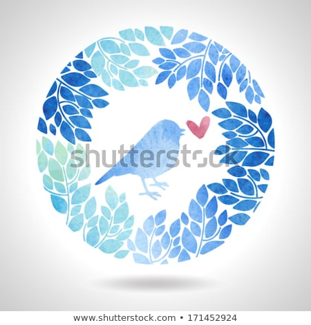 blue bird with heart stock photo © beaubelle