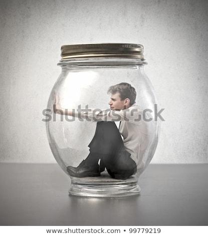 Jóvenes empresario vidrio jar negocios alimentos Foto stock © Elnur