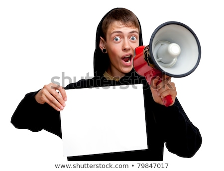 Loud Hailer And Blank Placard Shows Copy Space Message Or Announ Stock photo © stuartmiles