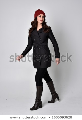 Fashion brunette woman model posing in black hat isolated on whi Stock photo © Victoria_Andreas