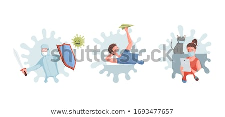 man with sword and face mask stock photo © elnur