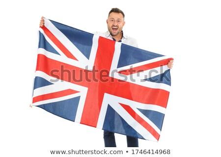 Nagy-Britannia zászló férfi tart szalag brit zászló Stock fotó © stevanovicigor