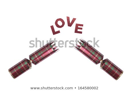 Isolated Christmas Cracker in tartan pattern with love text Stock photo © jenbray