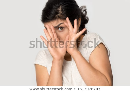 Scared Young Indian woman with head in hands Stock photo © bmonteny
