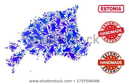 Észtország piros pecsét felirat izolált fehér Stock fotó © tashatuvango