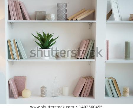Półka na książki bezszwowy poziomy książek plików inny Zdjęcia stock © tracer