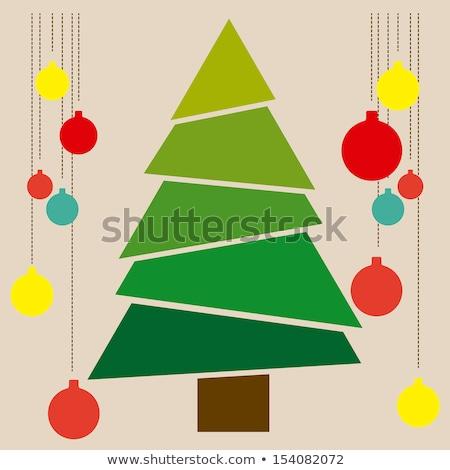 shining christmas tree with frame in blue Stock photo © marinini