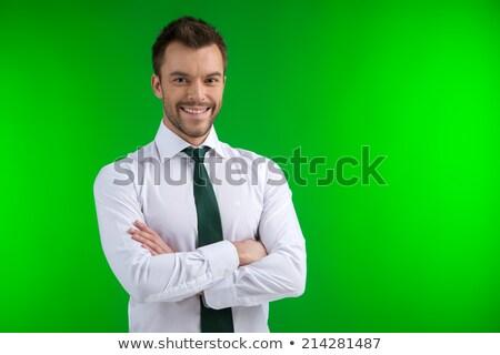 Portrait of Joyful Man Wearing Green Shirt Stock photo © ozgur