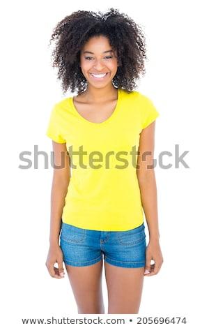 Joli fille jaune tshirt denim chaud Photo stock © wavebreak_media