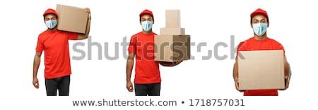 Mensajero cajas vista lateral blanco Foto stock © wavebreak_media